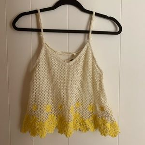 Free People see through ivory and yellow top